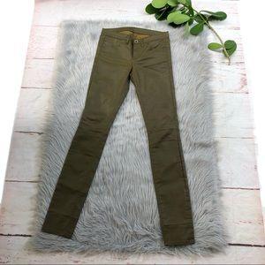 Madewell Green Waxed Skinny Jeans 28